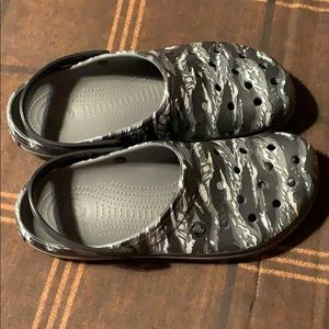 Crocs Black and White Camouflaged